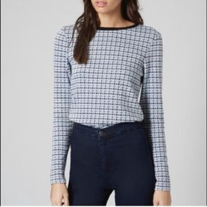 Topshop Blue Houndstooth Sweater
